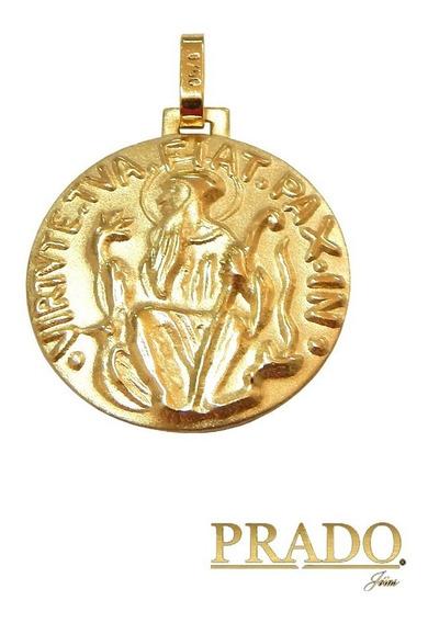 Pingente Medalha São Bento Dupla Face Em Ouro 18k 15mm