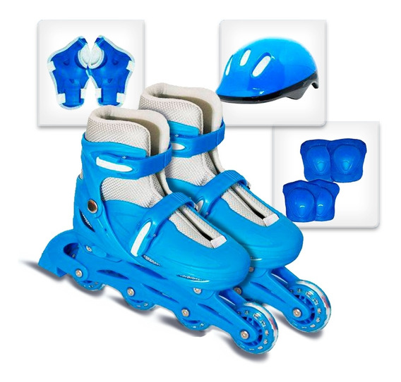 Patins Masculino Feminino 4 Rodas Ajustável Azul Rosa C/ Kit