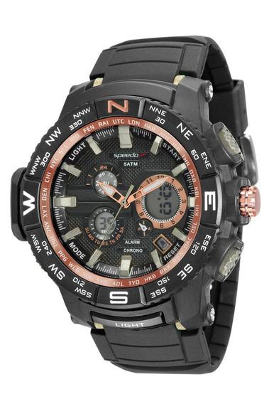 Relógio Speedo Masculino Digital Borracha Preta Original