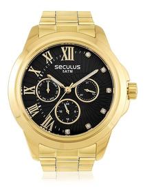 Relógio Masculino Seculus Analógico 28829lpsvds5 Fundo Preto