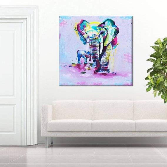 Cuadro Elefante Hijo Canvas Lienzo Moderno Roggero Grande
