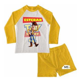 Traje De Baño Niño Conjunto Boxer Toy Story 4 Personalizado