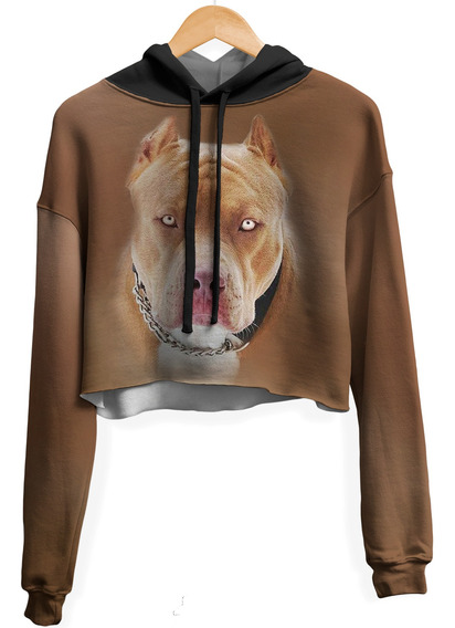 Blusa Cropped Moletom Feminina Over Fame Pitbull Md02