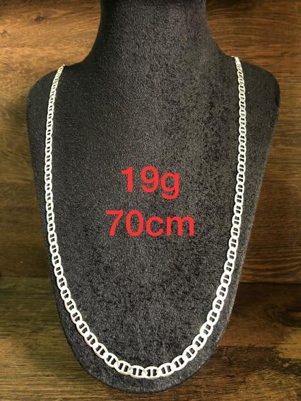 Colar De Prata Italiana 925 Modelo Tampa De Latinha 19g 70cm