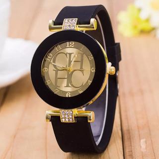 Relógio Feminino Preto Dourado Com Strass Leve E Lindo Luxo