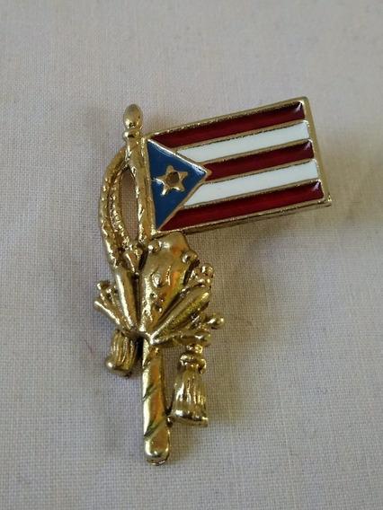 Prendedor Antiguo Bandera Puerto Rico Pin De Coleccion