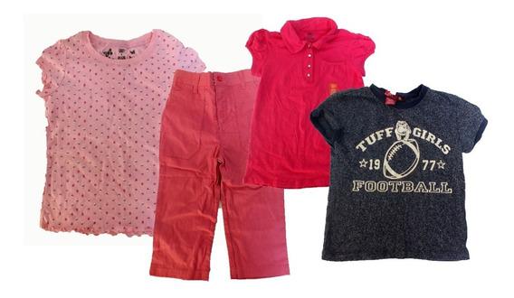 4 Peças De Roupa Infantil Femininas Rosa Blusa Calça B5467