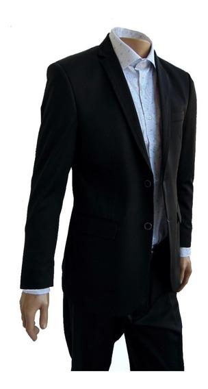 Ambo Slim Fit Elegante Negro Liso Marca Ventuno