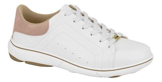 Tenis Feminino Casual Branco Basico Couro Sintetico 7339.207