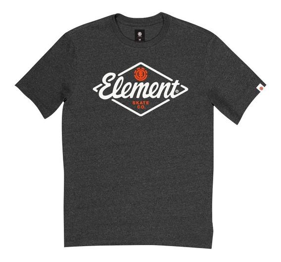 Remera M/c Element Rhomb Tee Negro Melange Hombre Meremrho