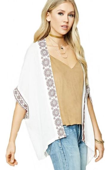 Forever 21 Kimono Abierto Bordado Bohemio Moda Verano Med