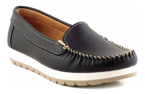 Mocasin Cuero Mujer Chatita Zapato Confort Goma Mcmo03632