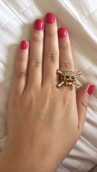 Anel Grande Dourado De Caveira Com Brilhos Lindo Usado