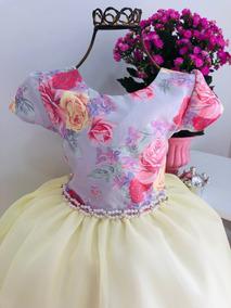 Vestido Princesa Lavanda C Flores Festas E Aniversários