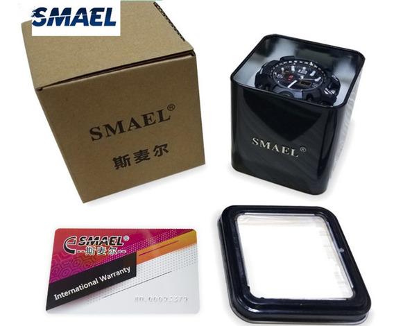 Caixa Metal Relógio Smael Com Janela E Cartão Garantia