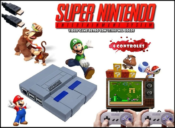 Super Nintendo Mini Video Game Retro + 13 Mil 4 Controle Usb