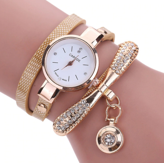 Relógio Feminino Pulseira De Couro Dourado Pingente Strass