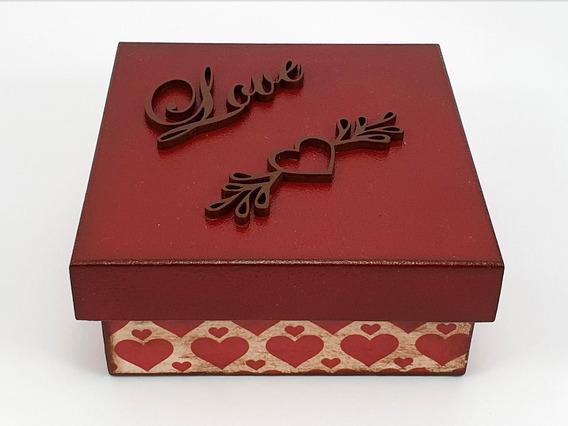 Caixa Multi Uso Vermelha E Betume Coração Love