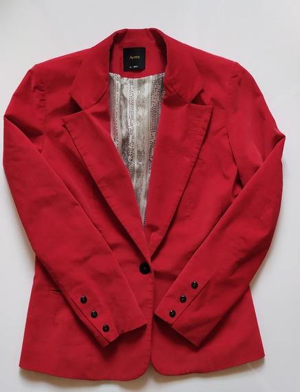 Blazer Saco Ayres Gamuza Rojo Talle S (40)