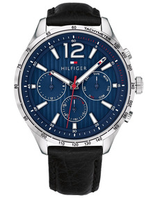 Relógio Tommy Hilfiger Azul Couro Preto 1791468
