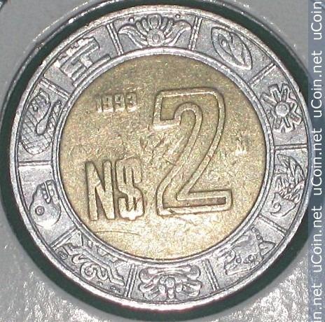Monedas $2 Nuevos Pesos Del Año 1993 Y 1994