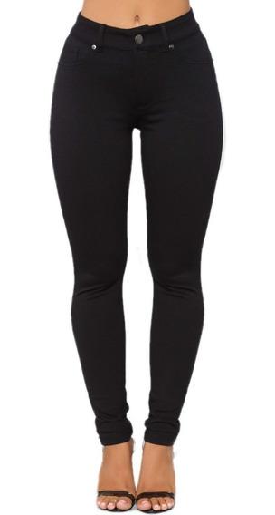 Pantalones Mujer Talles Grandes Bengalina Elastizados Negro