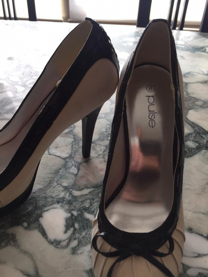 Zapatos Forever Tela Crudo Con Charol Negro. Sin Estrenar