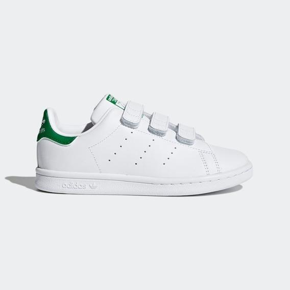Tenis adidas Branco Infantil Velcro Stan Smith Cf C Unissex