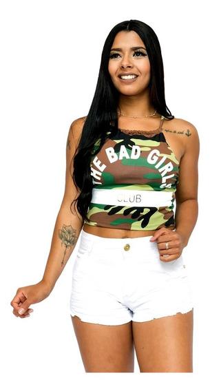 Top Cropped Feminino The Bad Girl, Com Bojo, Verão Ref 288