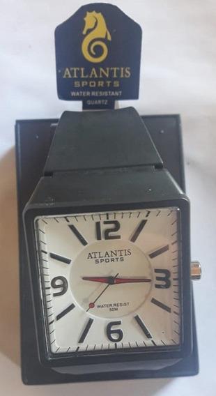 Relógio Atlantis G5531 Preto Fdo Branco Pont Vermelho Novo