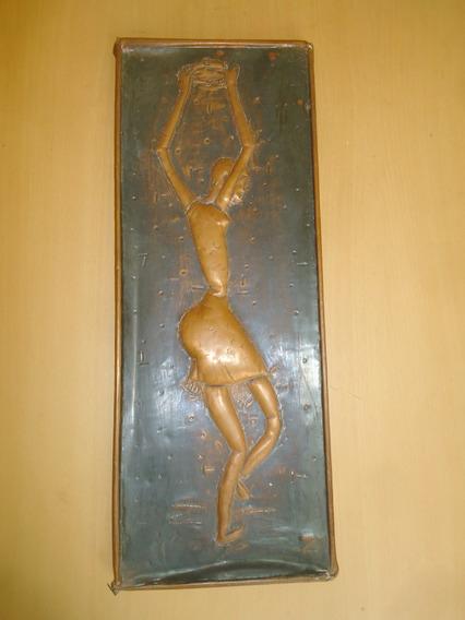 Placa Cobre Dançarina Em Alto Relevo Artista Chileno Z