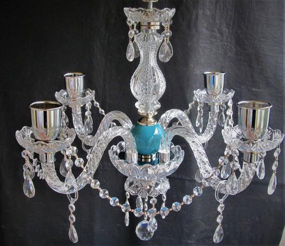 Araña Antigua De Vidrio 4 Luces Con Ceramica !!!