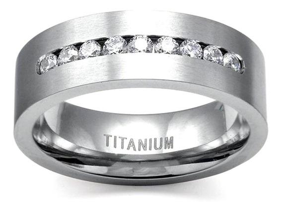 Anel Masculino Feminino Titânium Cristal Diamante Dia 629 !