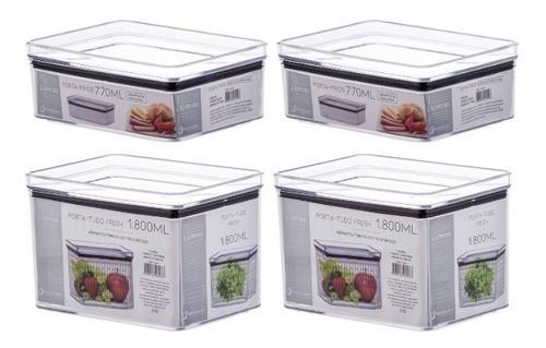 Kit 2 Potes P/ Frutas E Verduras 1800ml +2 Porta Frios 770ml