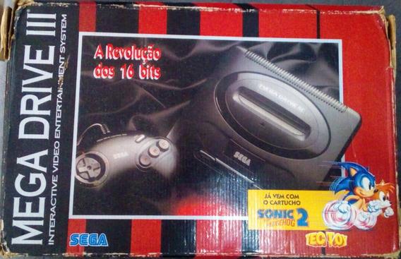 Caixa Vermelha Vazia ( Sem Isopor ) Do Videogame Mega Drive 3 Versão Sonic 2 - Leia O Anúncio Todo Por Favor!!!