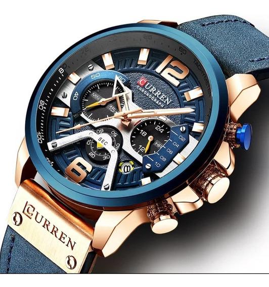 Relógio Masculino Curren Pulseira Couro Azul Esp. 8329