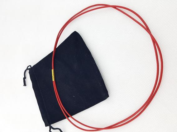 Colar Chocker Couro Legítimo 2mm Vermelho Redondo Duplo