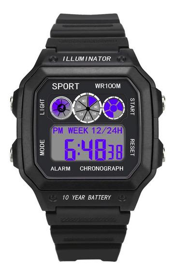 Reloj Digital Hombre Retro Alarma Luz Azul Envio Gratis