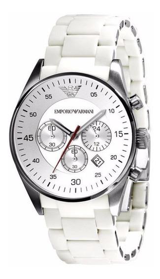 Reloj Emporio Armani Sport Crono Acero Silicón Blanco Ar5859
