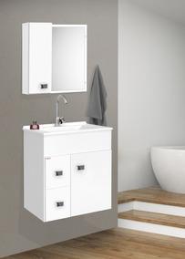 Gabinete Para Banheiro Kit Ecco Suspenso + Cuba + Espelheira