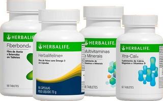 Tabletes Herbalife Ômega, Fiberbond, Multivitaminas, Xtracal