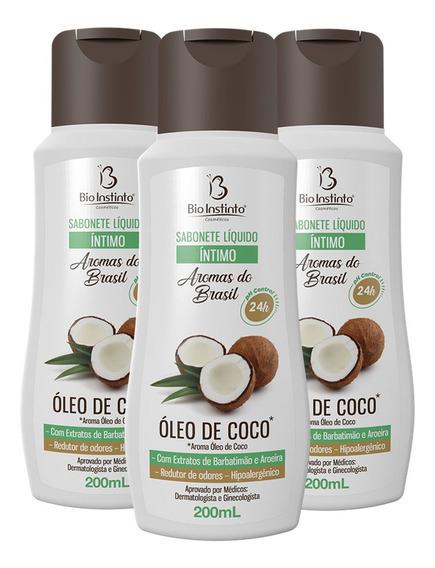 Sabonete Íntimo Líquido Oleo De Coco 3 X 200ml Bio Instinto