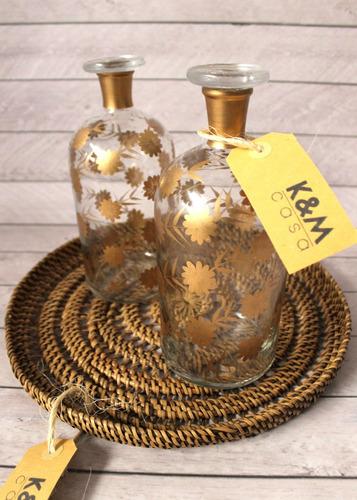 Botellón Para Whisky En Cristal Con Dorado! 2 En Stock