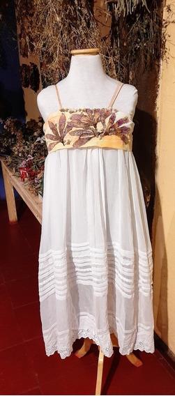 Vestido Artesanal De Seda Con Flores Preservadas, Lavable