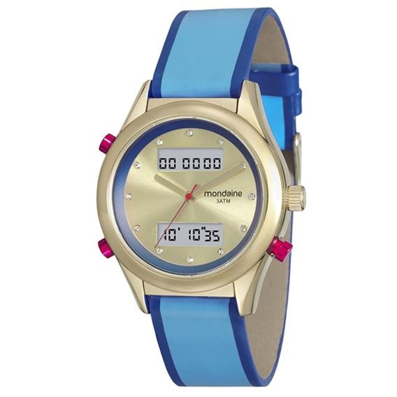 Relógio Mondaine Feminino Anadigi 99210lpmvdh3 -dourado/azul