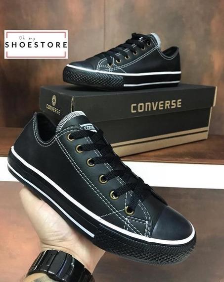 Tênis Converse All Star Couro Preto Unissex