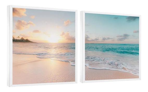 Quadro Decorativo Paisagem Mar Pôr Do Sol Moldura Branca