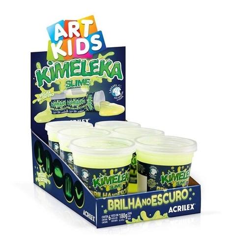 Kimeleka Slime Acrilex Brilha No Escuro 180g Art Kids 6 Unid