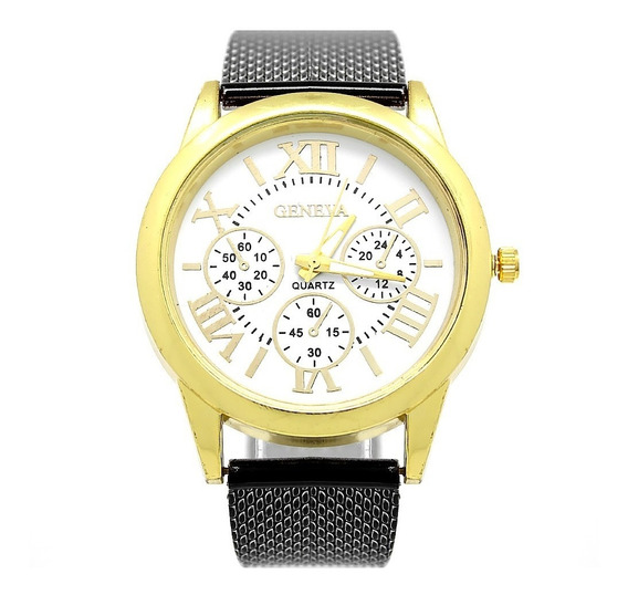 Reloj Hombre Geneva Dorado Negro