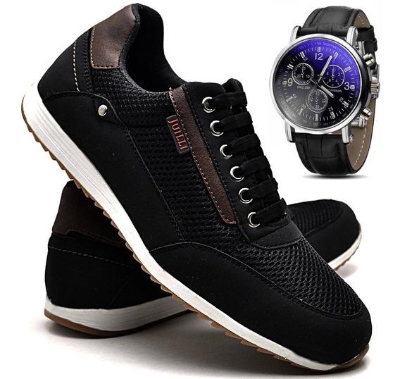 Kit Sapatenis Tênis Couro Jogger Masculino E Relógio 271